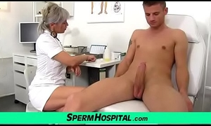 Hawt of age lady giving a tugjob feat. dirty doctor Beate